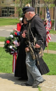 John Stengel-Gail Bellamy Carrying Wreath
